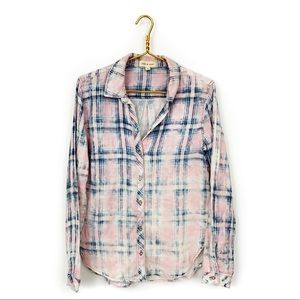 Anthropologie cloth and stone plaid acid button up